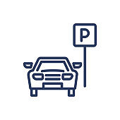 Parking area thin line icon