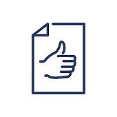 Thumb up on piece of paper thin line icon