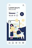 People transferring money via smartphone application