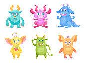 Cute cartoon monsters flat icon set