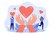 Hands holding heart symbol flat vector illustration