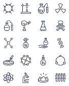 Chemistry thin icons set