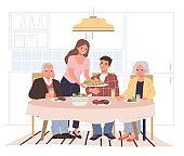 Family dinner at home