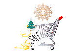 Photo of iron cart, Christmas tree, card with inscription, wooden snowflake