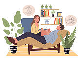 Patient counseling with psychologist illustration