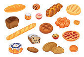 Bread assortment flat icon set