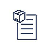 Cardboard box and clipboard thin line icon