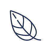 Green leaf thin line icon