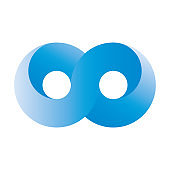 Blue infinity symbol icon. 3D-like gradient design effect. Vector illustration