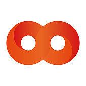 Orange infinity symbol icon. 3D-like gradient design effect. Vector illustration
