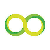 Green infinity symbol icon. 3D-like gradient design effect. Vector illustration
