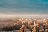 Top view on the the Belarusian city - Gomel from the viewing platform.