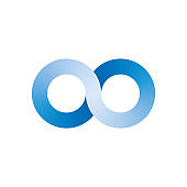 Infinity symbol icon. Representing the concept of infinite, limitless and endless things. Simple blue vector design element on white background