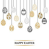 Easter card with decorative contour eggs hang