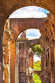 Bottom view of arches of ancient ruins on Palatine Hill