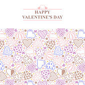 Valentines day card with ornament of decorative hearts