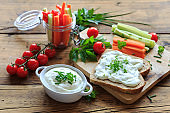 healthy breakfast with vegetables and herb quark