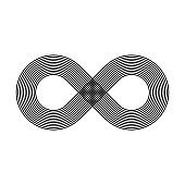 Infinity symbol icon. Representing the concept of infinite, limitless and endless things. Simple multiline vector design element on white background