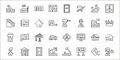 set of 32 build a house thin outline icons such as sales agent, board, house sketch, moving, house, crane, toolbox, driller, sketch