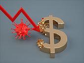 Corona Virus Concepts. Dollar Symbol Crumbling.