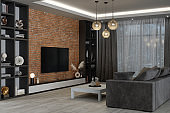 Modern Living Room With Brick Wall In The Evening
