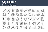 set of 50 pirates icons. outline thin line icons such as flag, whale, ship wheel, pistol, barrel, paddles, diamond