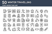 set of 50 winter travelling icons. outline thin line icons such as snowboard, man, bag, boots, map marker, scarf