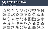 set of 50 design thinking icons. outline thin line icons such as strategy, de, observation, innovation, de, inspire, cloud