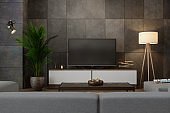 Smart Tv On Cabinet In Living Room at Night