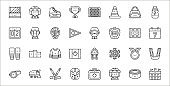 set of 32 hockey thin outline icons such as stadium, hockey player, hockey mask, whistle, medal, jersey, calendar, coach, fan