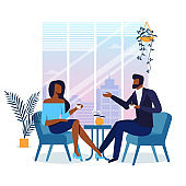 Romantic Date in Cafe Flat Vector Illustration