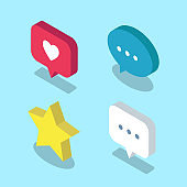 Set of social media Isometric icons, such as like, star and message bubble. - Vector