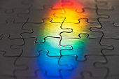 Color spectrum on a blank jigsaw