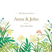 Beautiful wedding invitation with different vector plants and flowers and text on white background. Save the date