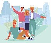 Happy Friends Portrait over Cityscape Illustration