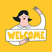 Welcome page vector illustration