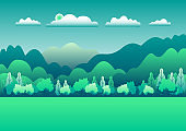 Hills and mountains landscape in flat style design. Beautiful green field with grass, meadow and sky. Rural location in the forest, trees. Cartoon illustration vector background