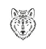 Beautiful wolf head black line tattoo illustration on white background. Wild animal stylish symbol in black color. - Vector