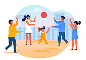 Little Kids Playing Ball Flat Vector Illustration