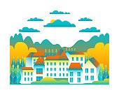 City landscape isolated on white background in flat style design icons. Nature with house, building, street, trees, cloud, hills, montains cartoon vector illustration. Blue yellow colors