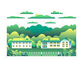 City landscape isolated on white background in flat style design icons. Nature with house, building, street, trees, cloud, hills, montains cartoon vector illustration. Green yellow colors
