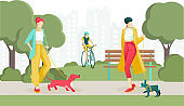 Cartoon Stylish Women Walking Dog in Public Park