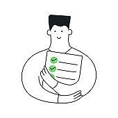 Cute cartoon man holding to do list with green ticks vector