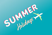 Passenger plane and text summer holidays, against the background of the sea, the concept of summer vacations and travel