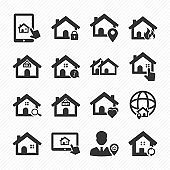 Real estate black icons set 02. Purchase and sale of housing icons