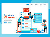 Landing page vector design for illustration of employee recruitment. Choose best prospective workers. Flat cartoon for landing page, template, ui ux, web, website, mobile app, banner, flyer, brochure