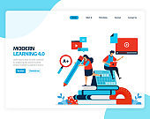 Vector illustration of modern learning 4.0 . efficiency of digital education, learning, schooling. Flat cartoon for landing page, template, ui ux, web, website, mobile app, banner, flyer, brochure