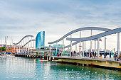 Rambla de Mar bridge to Maremagnum shopping mall and W Hotel in Barcelona
