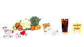 inspiration board  and fresh vegetable  with sugar pack isolated on white back ground to solution for health and weight loss.