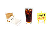 inspiration board  with drink water and brown - white sugar pack isolated on white back ground to solution for health and weight loss.